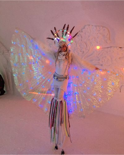 winter wonderland themed stilt walker