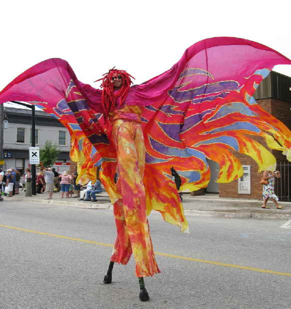stilt walker bird costume